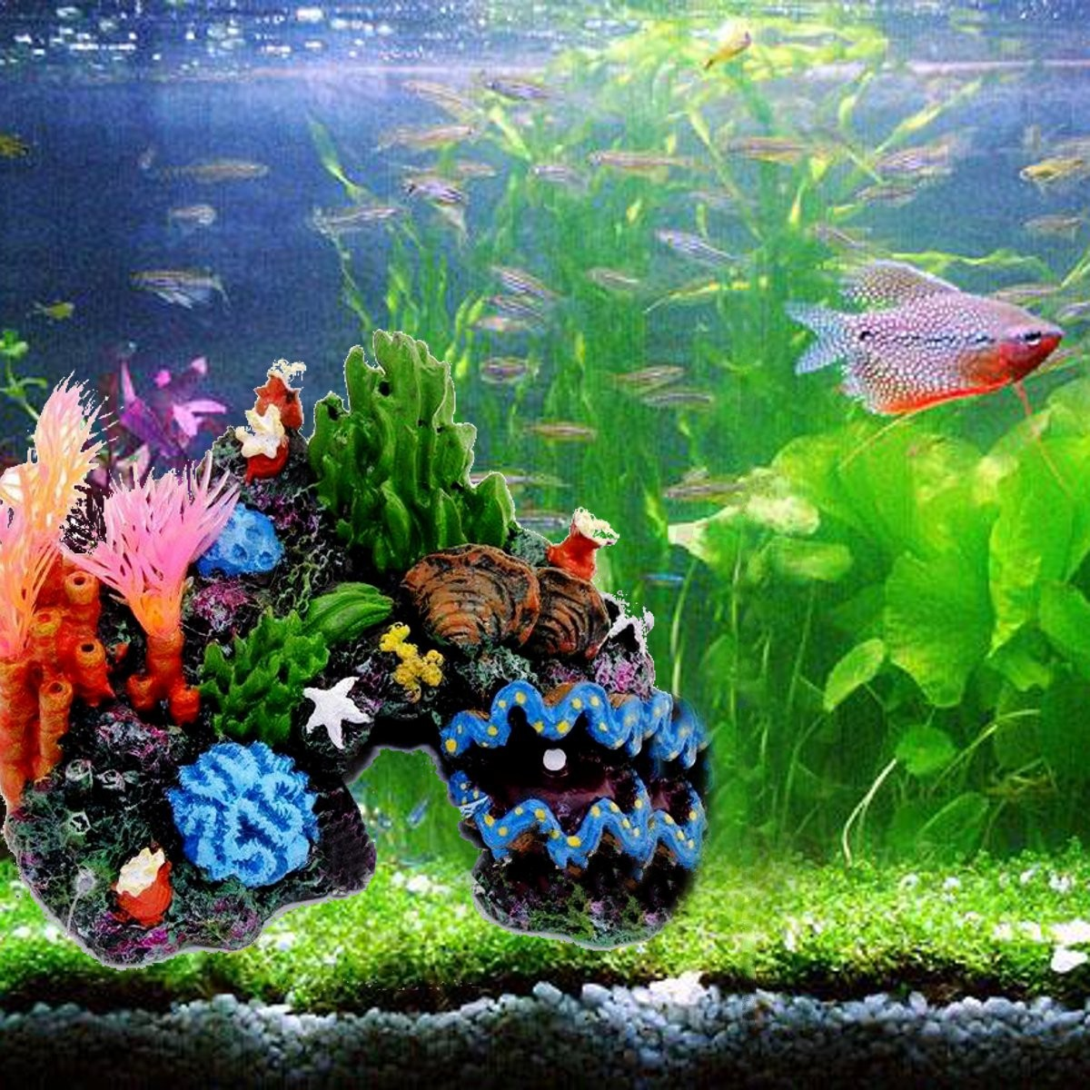 Resin coral plant shell reef mountain fish tank cave for Aquarium mountain decoration