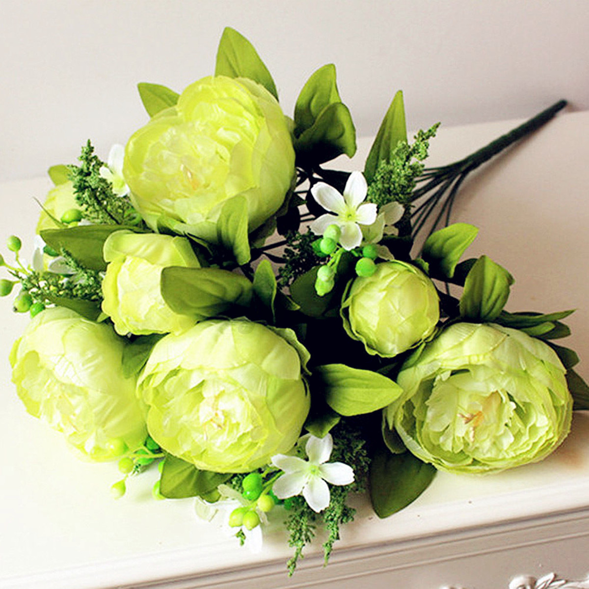 8 Heads Artificial Peony Silk Flowers Bridal Hydrangea Wedding Party Home Decor
