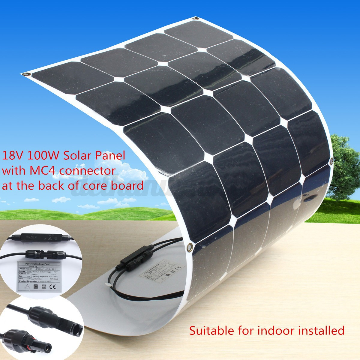 100w 18v Semi Flexible Mono Solar Panel Battery Charger