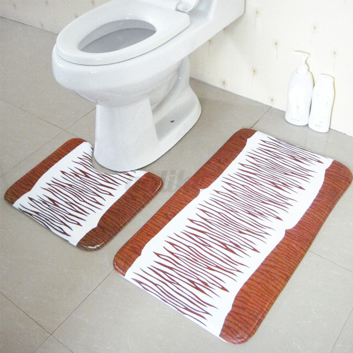 2pcs Set Floor Rug Carpet Bath Pedestal Mat Bathroom Shower Toilet Non Slip P