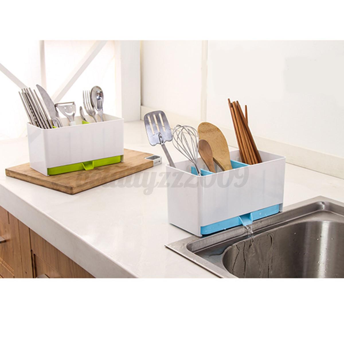 Kitchen Sink Storage: Kitchen Brush Sponge Organizer Storage Sink Towel Draining