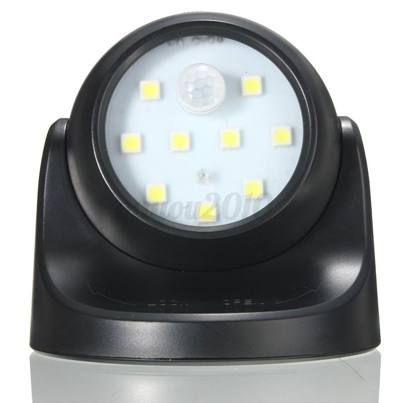 9 leds white motion activated light sensor battery. Black Bedroom Furniture Sets. Home Design Ideas