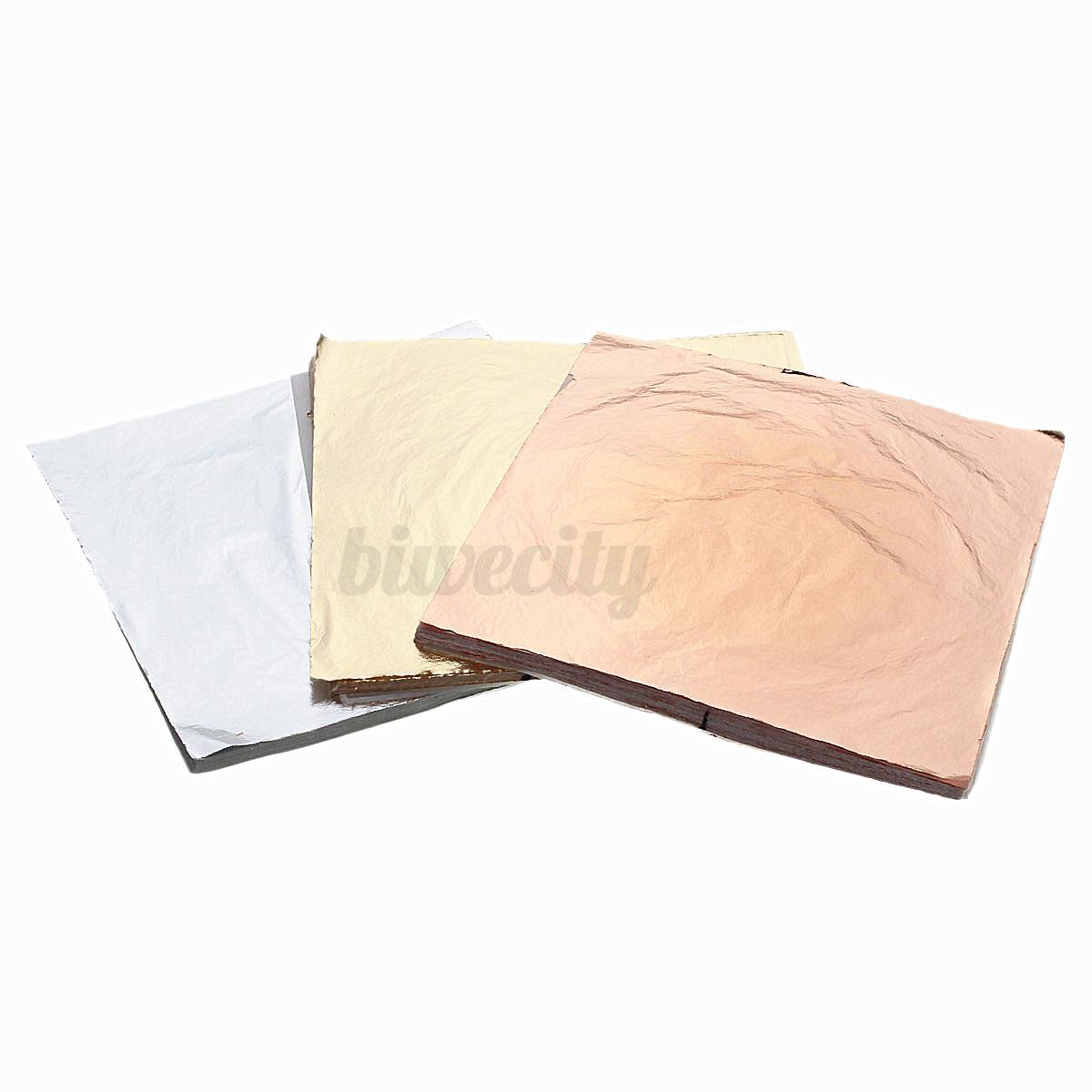 100 200 400 sheets gold silver copper leaf foil paper for Silver foil paper craft