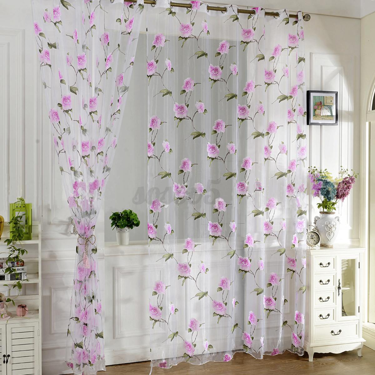 Cortina ventana paneles balc n puertas ventana floral gasa for Estores puerta balcon