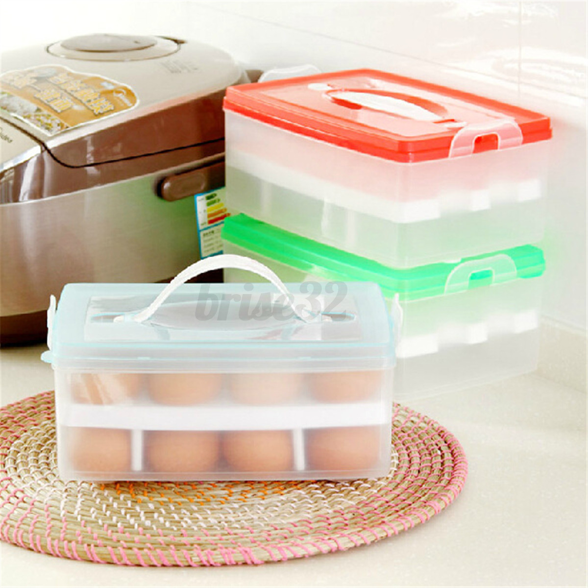 Plastic Double Layer Kitchen Storage Organizer Egg Holder