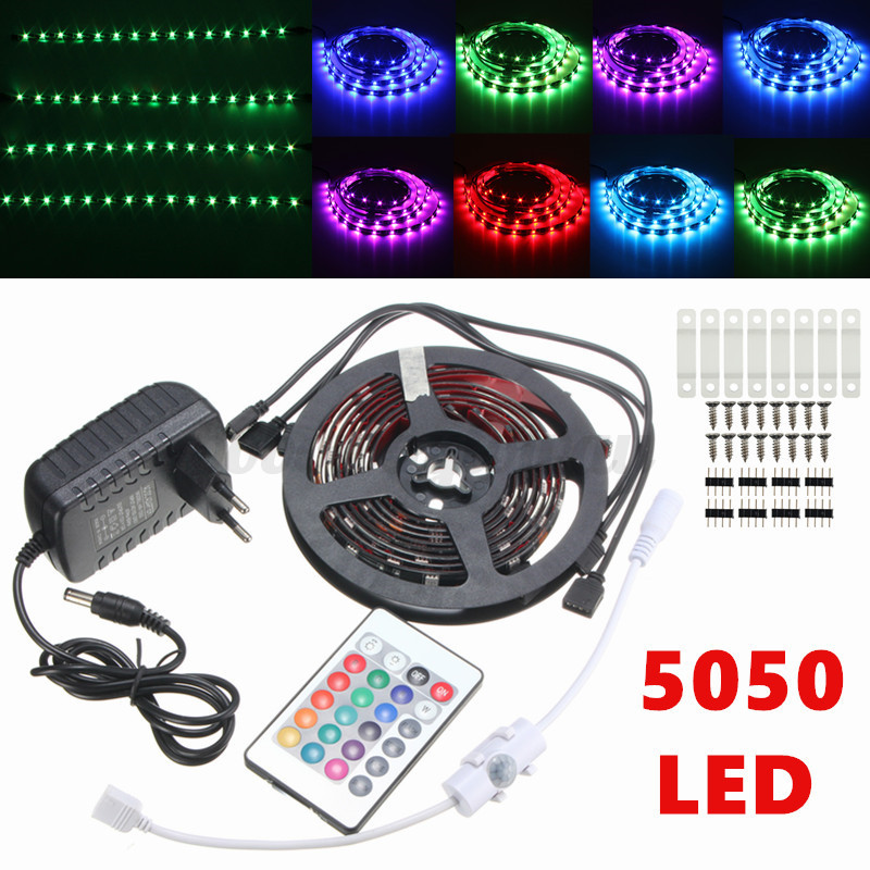 4x rgb led strip 5050 smd ir fernbedienung tv hintergrund beleuchtung aquarium. Black Bedroom Furniture Sets. Home Design Ideas