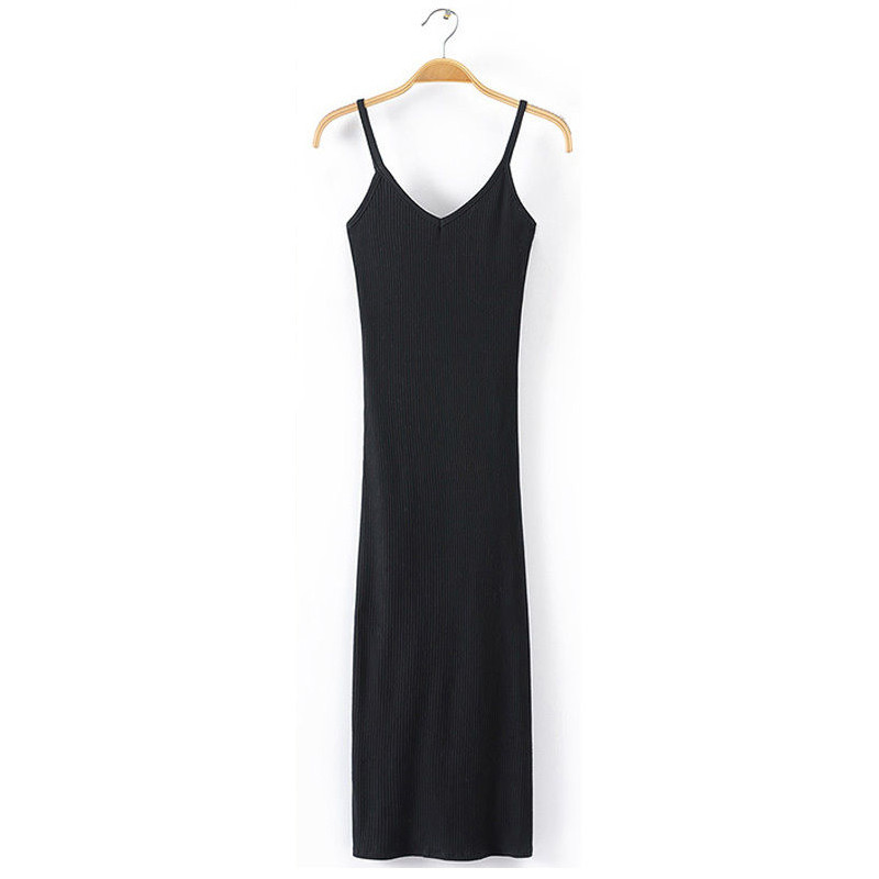 Women's Sleeveless Deep V Neck Rib Knit Bandage Bodycon Pencil Split Midi Dress