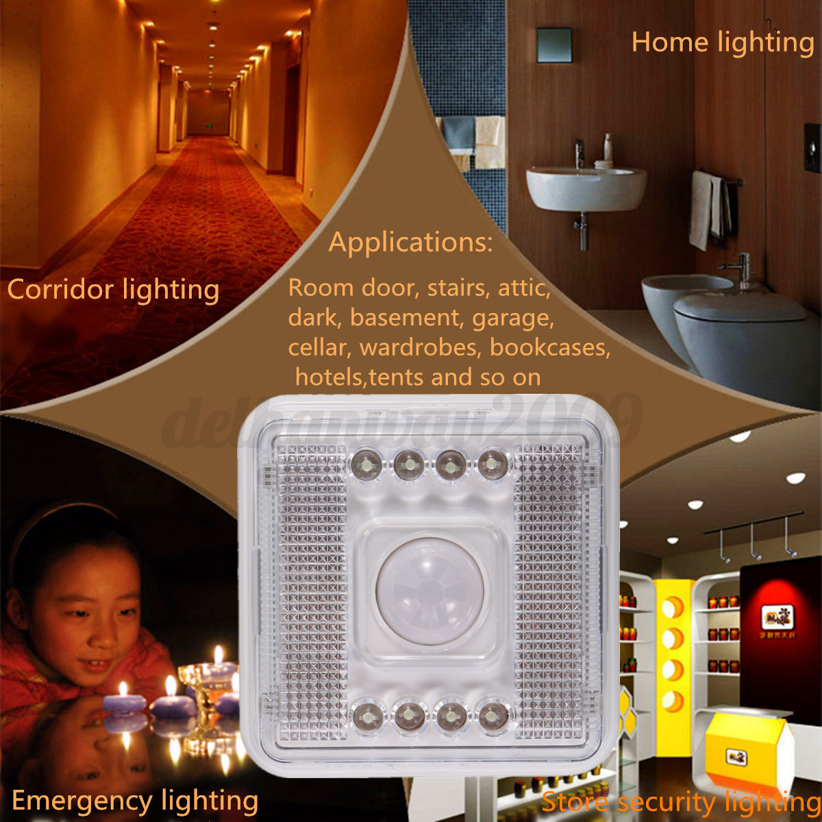8 led automatic pir motion sensor stair hall night light. Black Bedroom Furniture Sets. Home Design Ideas