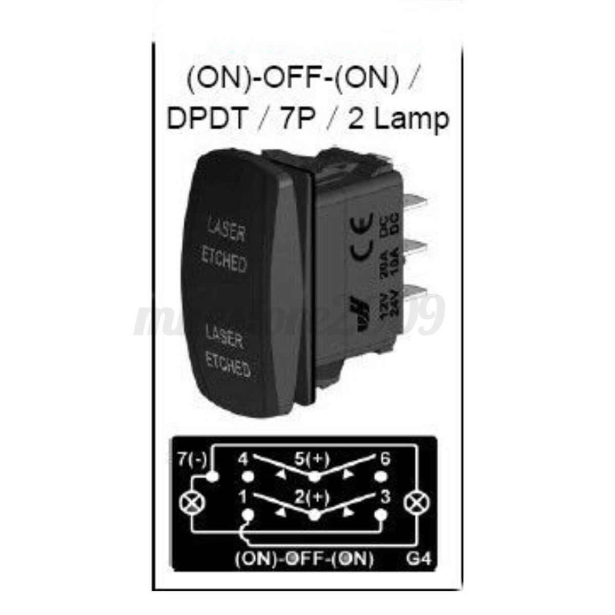 12V Rocker Toggle Switch Blue LED Winch 7P In Out Light