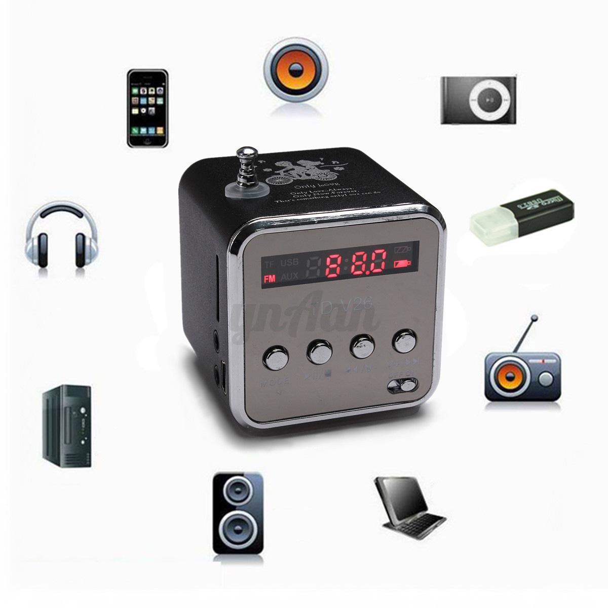 portable micro sd tf usb mini stereo speaker music player fm radio pc mp3 4 new ebay. Black Bedroom Furniture Sets. Home Design Ideas