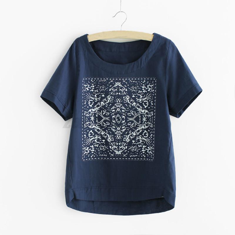 Womens cotton linen t shirt summer print casual short for Linen women s shirt