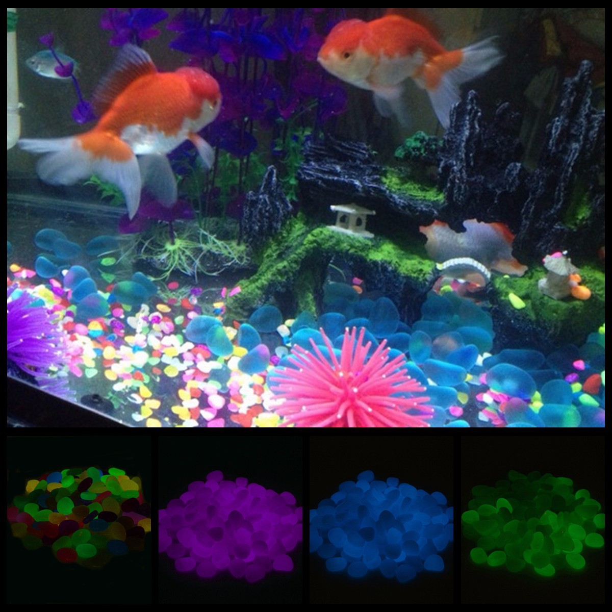 100pcs glow in the dark stones pebbles rock fish tank for Garden with fish tank