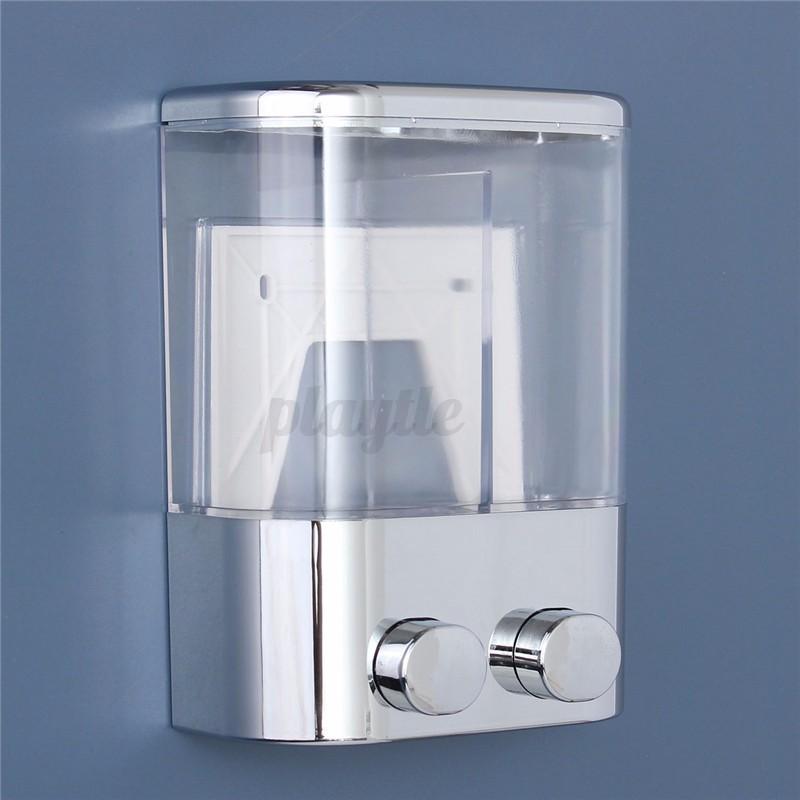 Double Wall Mount Soap Shampoo Shower Gel Dispenser Liquid