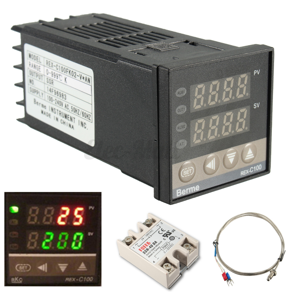 PID REX C100 Temperature Controller   40A SSR   K Thermocouple eBay #28B516