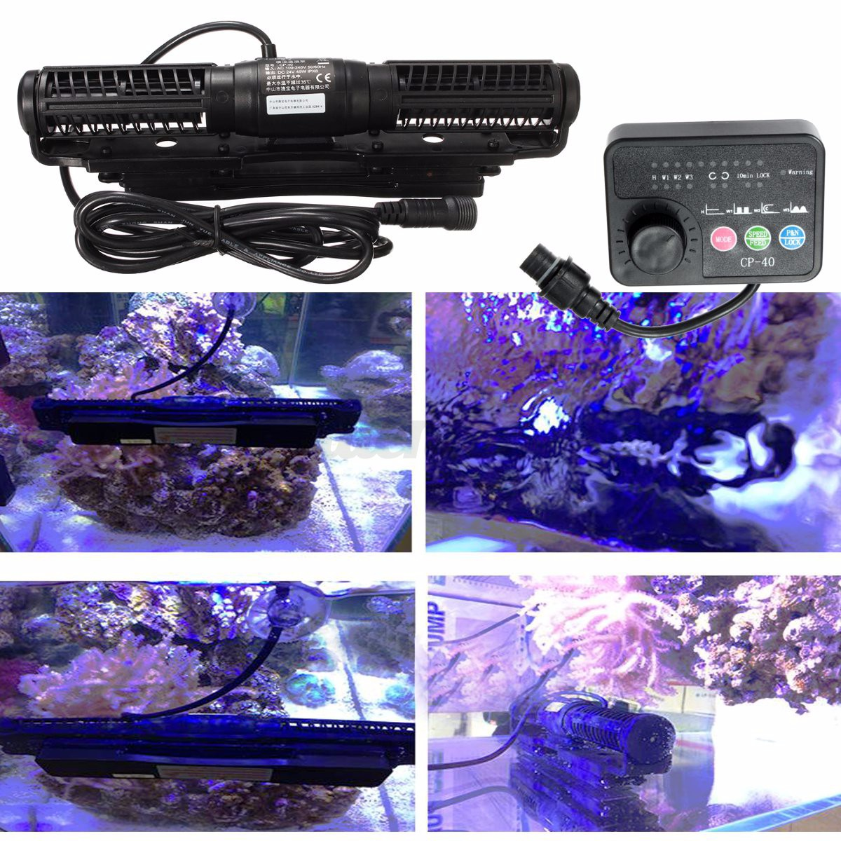 Jebao jecod cp 40 aquarium fish tank reef cross flow pump for Fish tank wave maker