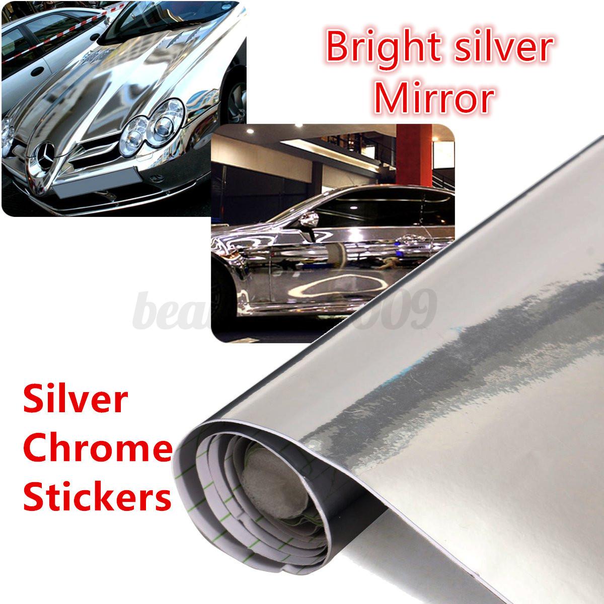 Car silver chrome mirror foil wrap stickers dazzling decal for Miroir 60x150