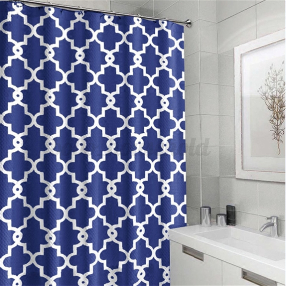 Modern Geometric Designer Bathroom Shower Curtain With 12 Hooks 180cmx180cm Ebay
