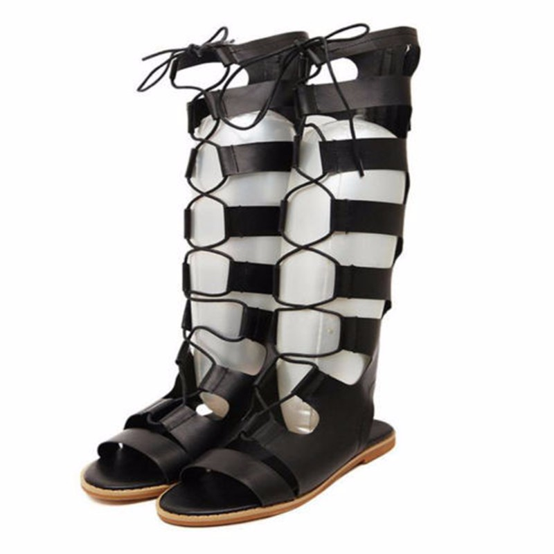 fashion flat cut out lace up knee high gladiator