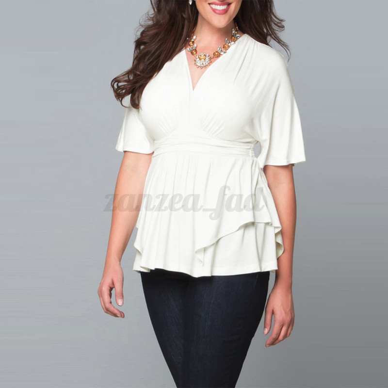Plus Size XL-6XL New Women Summer Short Sleeve Loose T-shirt Casual Tops Blouse