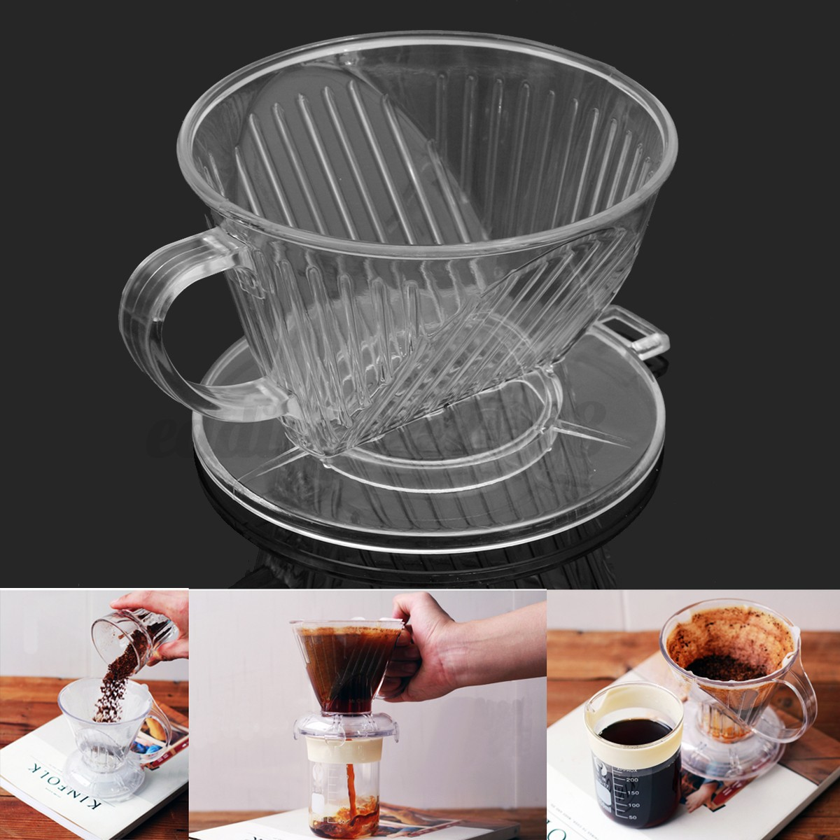A Coffee Maker Has A Filter Holder : Clear Coffee Filter Cup Cone Drip Dripper Maker Brewer Holder Plastic Reusable eBay