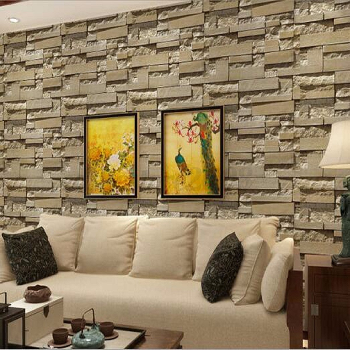 3d wall paper vinyl brick stone effect living room tv for 3d stone wallpaper for living room