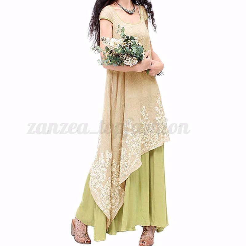 S-5XL ZANZEA Women's Short Sleeve Embroidery Double Layers Long Maxi Dress Tops