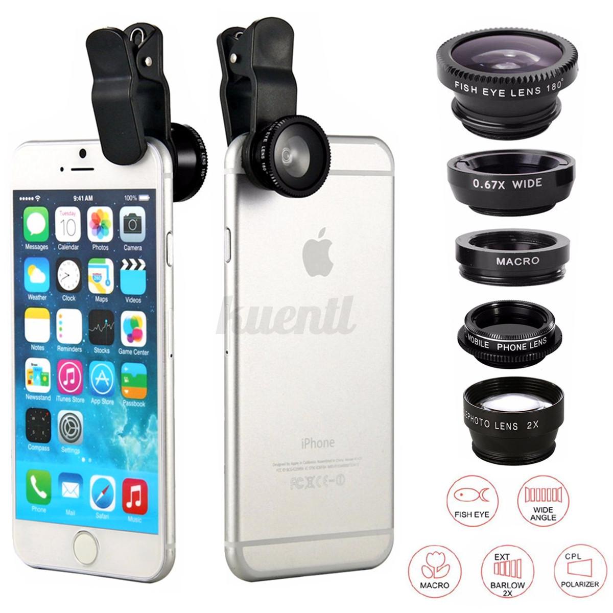 5in1 Clip on Phone Camera Lens Fisheye Wide Angle Macro 2.0X Telephoto CPL Kit