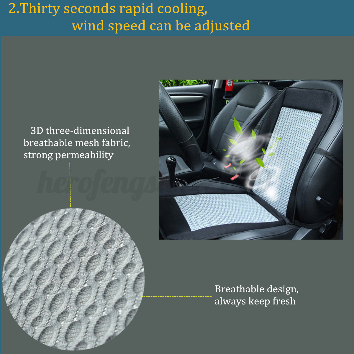 Car AUTO Truck Seat Cushion Cover Fan Air Conditioned Cooler Pad #B1901A