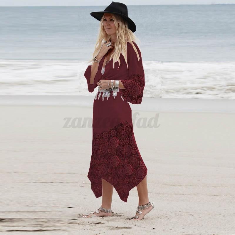 AU 8-22 Women Deep V Neck Lace Crochet Floral Long Maxi Dress Beach Sundress New