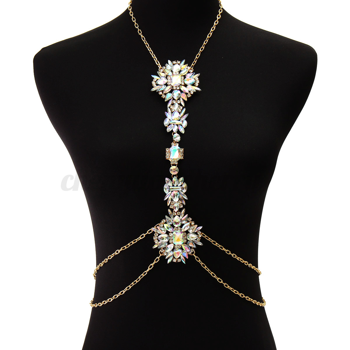 Charm Crystal Flower Pendant Harness Chunky Necklace Body ...