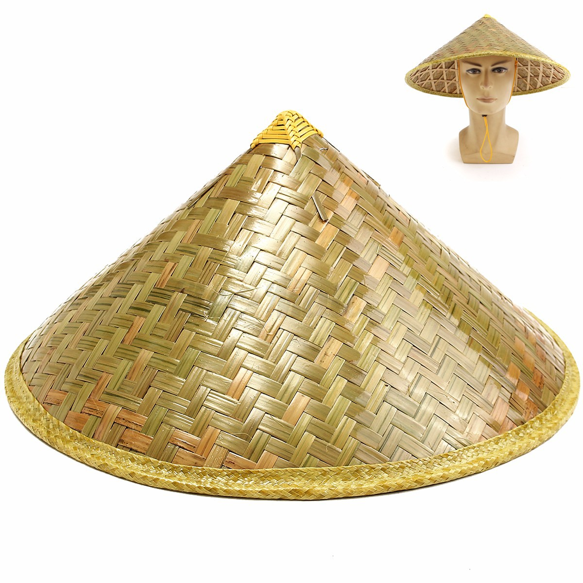 Coolie Hat: Asian Vietnamese Japanese Coolie Straw Bamboo Sun Hat