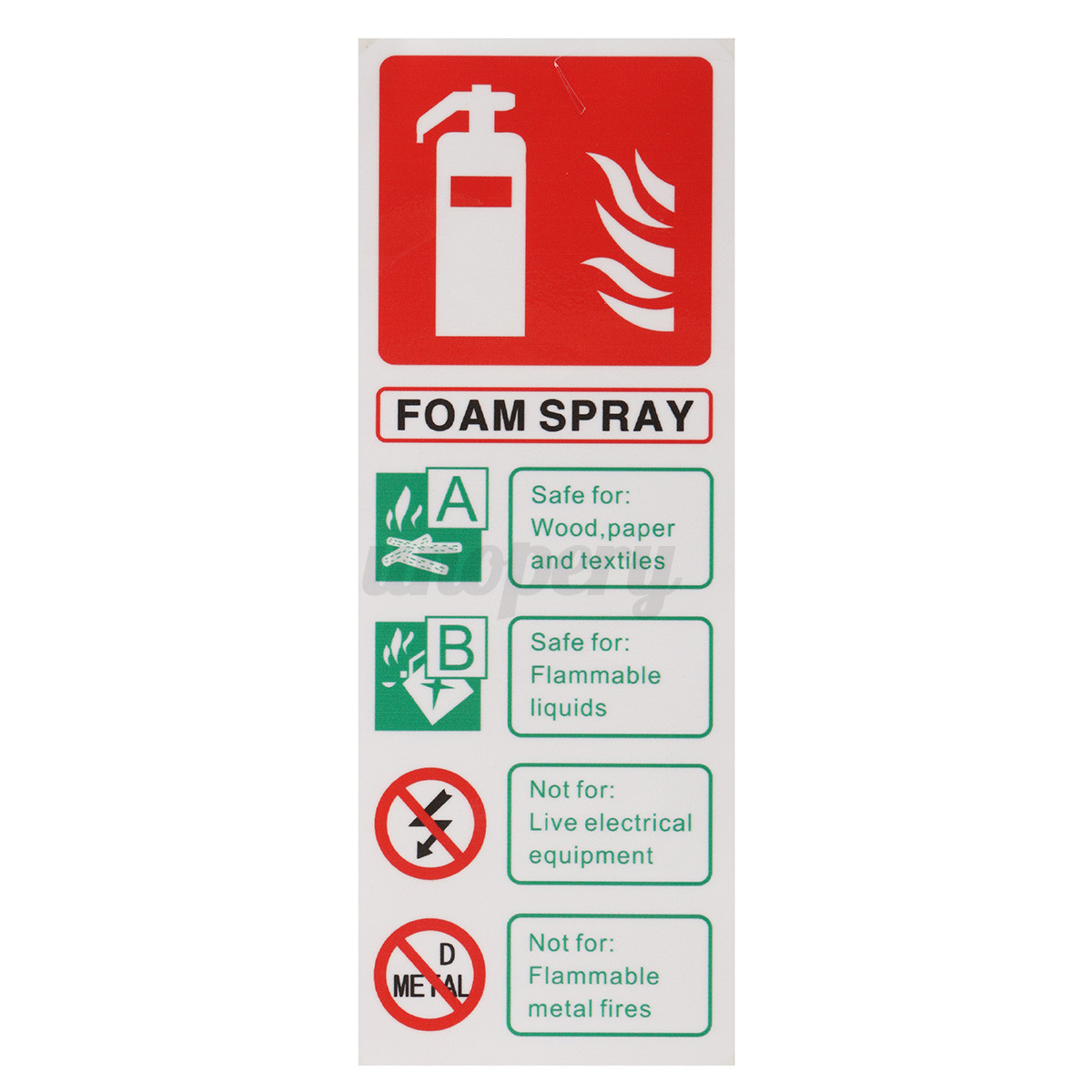 Polyurethane Foam Signs : Pcs fire extinguisher foam spray signs self adhensive