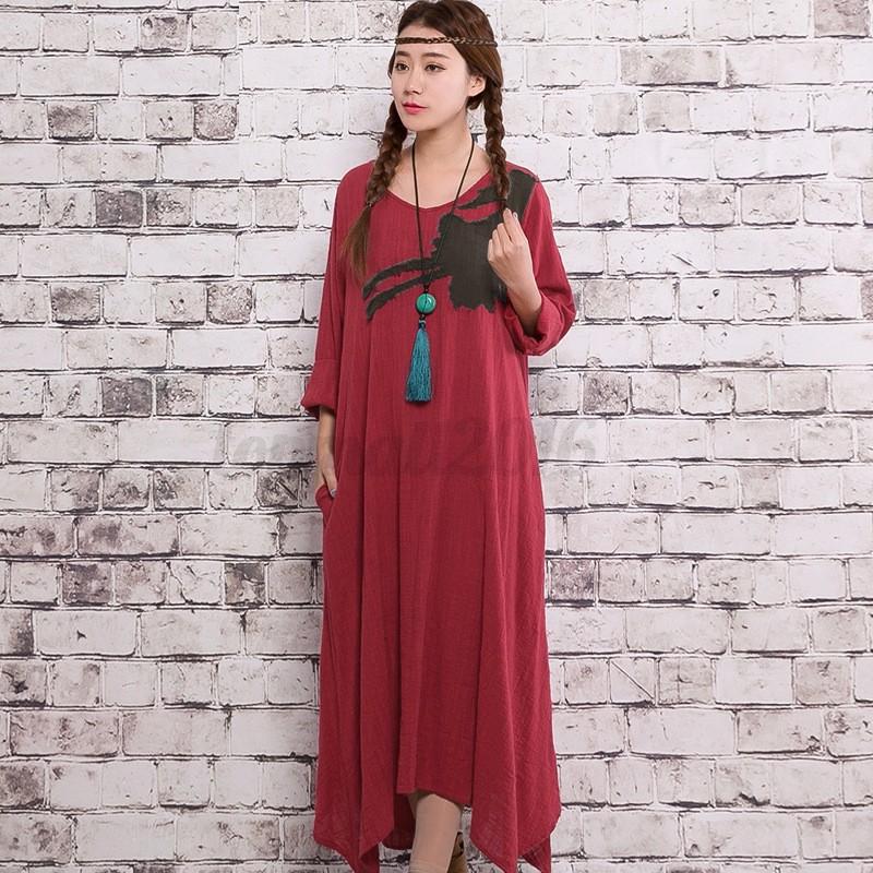 ZANZEA Women Long Sleeve V Neck Loose Plus Cotton A-Line Long Maxi Dress Kaftan