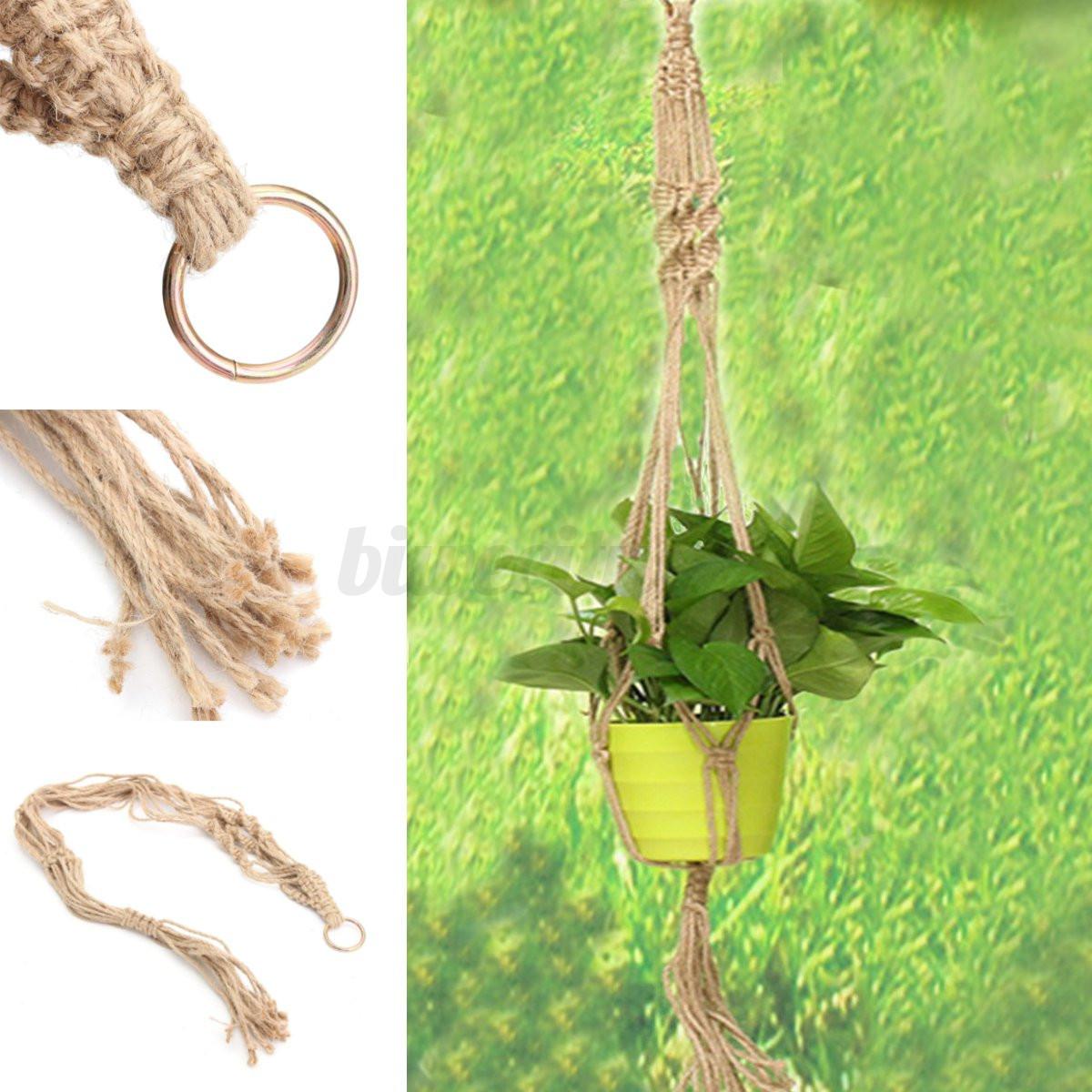Handmade Jute Baskets : Natural jute macrame cord handmade braided hanging basket