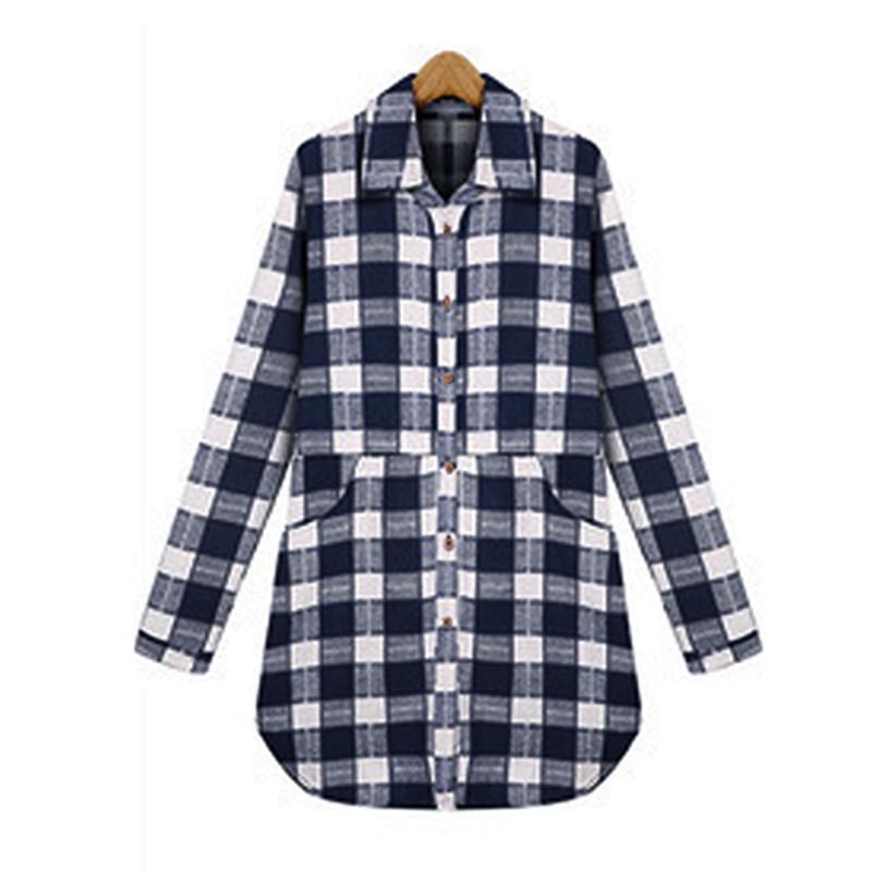 Plus Size Women Tartan Check Buttons Down Loose Casual Long Tops Blouse Shirt