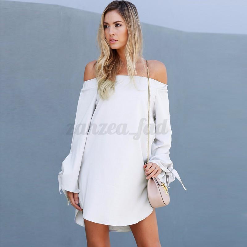 34-46-ZANZEA-Damen-Off-Shoulder-Bandeau-Mini-Dress-Bowknot-Irregular-Long-Tops