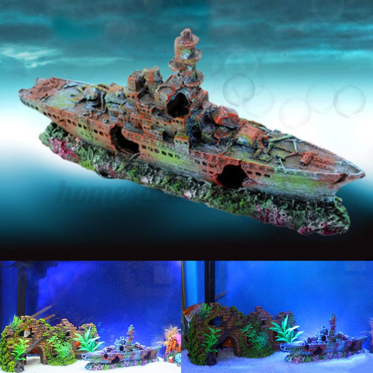 Aquarium destroyer navy war boat ship wreck fish tank cave for Aquarium cave decoration