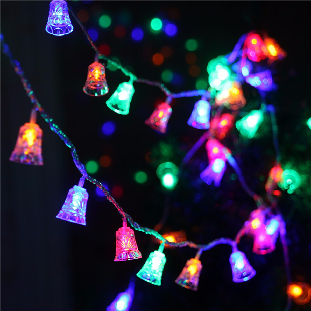 20 LED Christmas Bell Shaped Flashing Light String Xmas Tree Hanging Decoration eBay