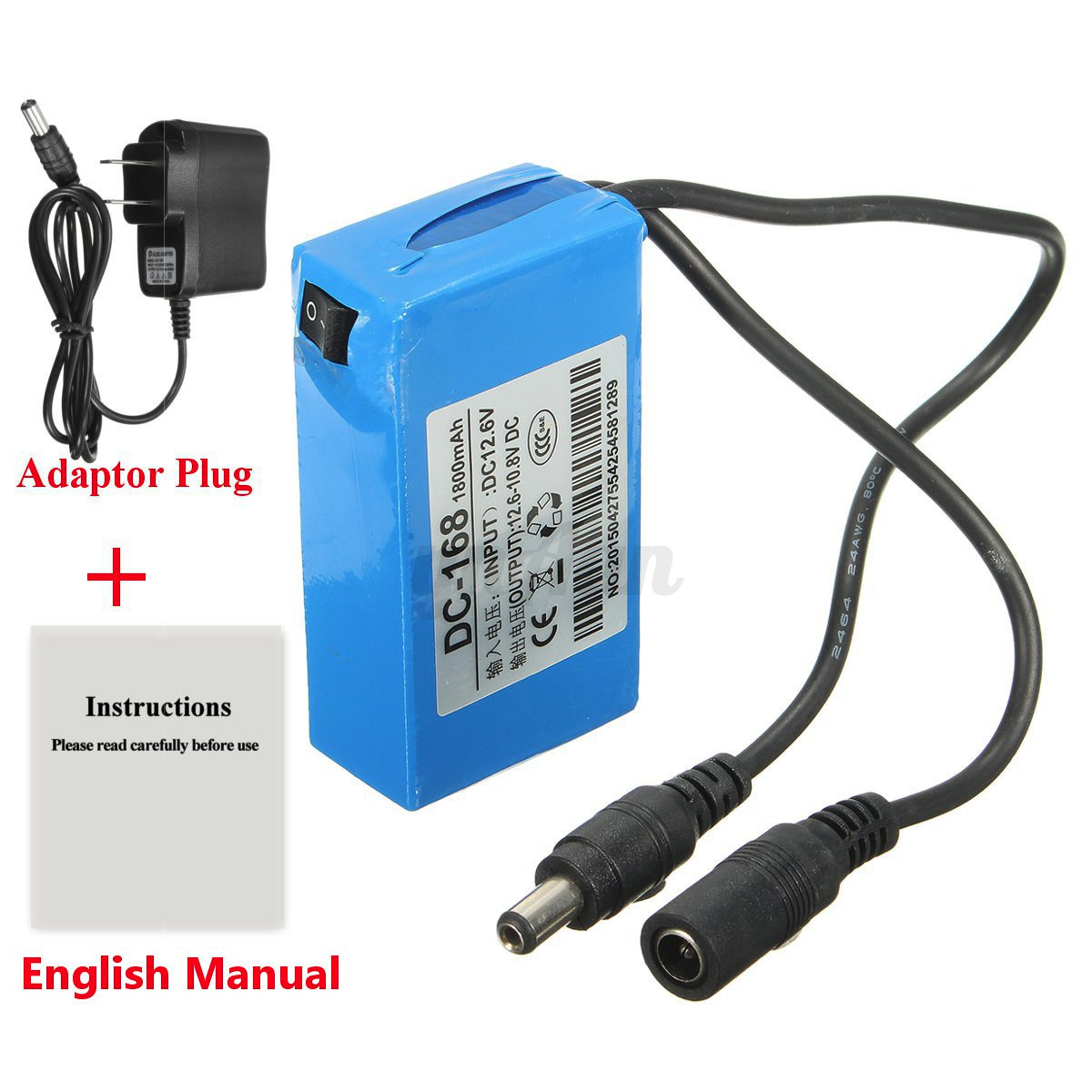 dc 168 12v monitor power supply rechargeable li ion lithium battery w us plug ebay. Black Bedroom Furniture Sets. Home Design Ideas