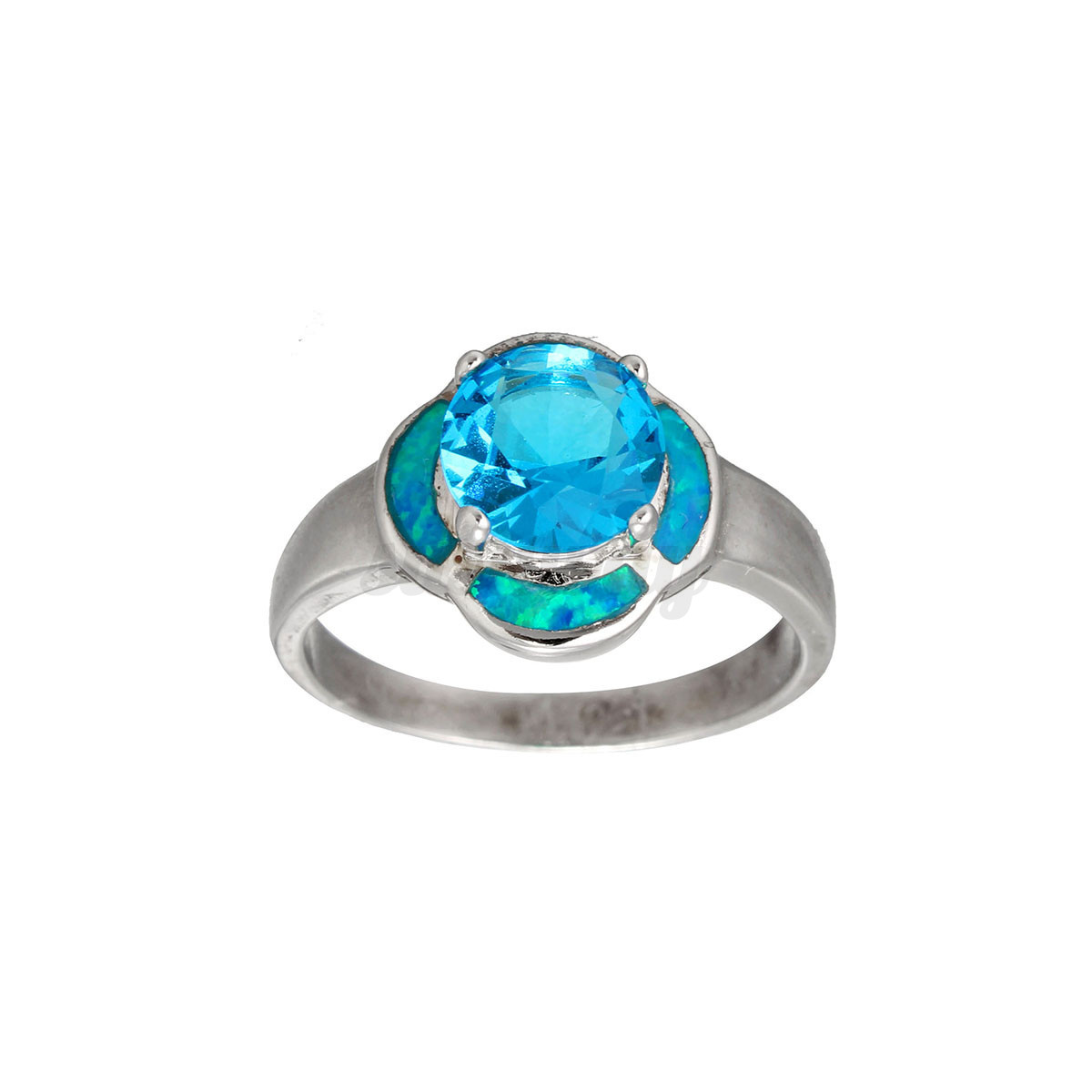 Women s Blue Crystal Opal Silver Zircon Gem Ring Wedding Engagement Jewel