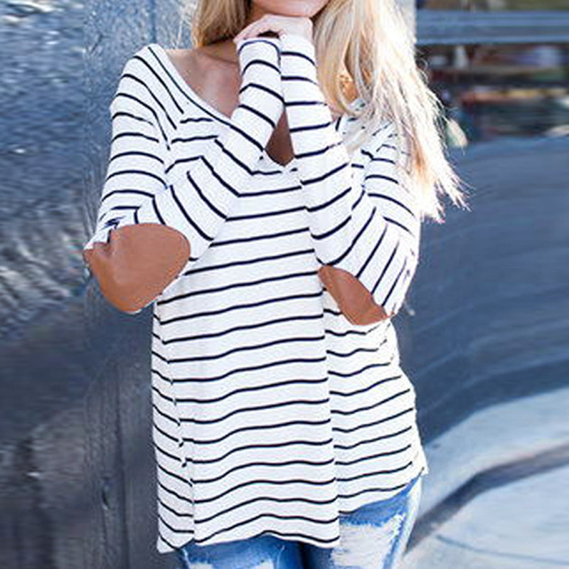 Women Cotton V Neck Striped Loose Long Sleeve T Shirt Casual Tee Tops Blouse New