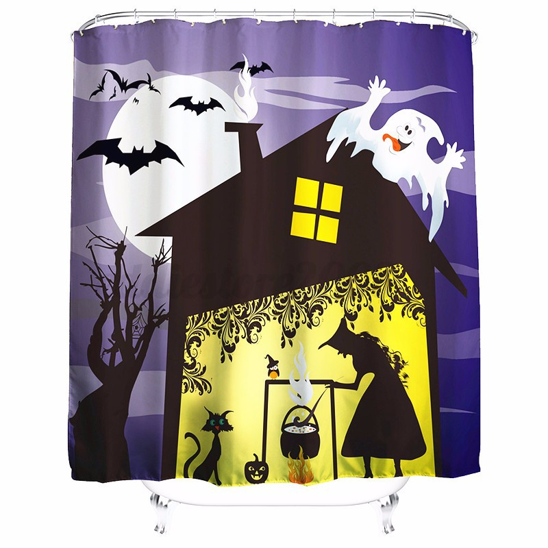 Halloween Xmas 3D Printed Fabric Waterproof Bathroom