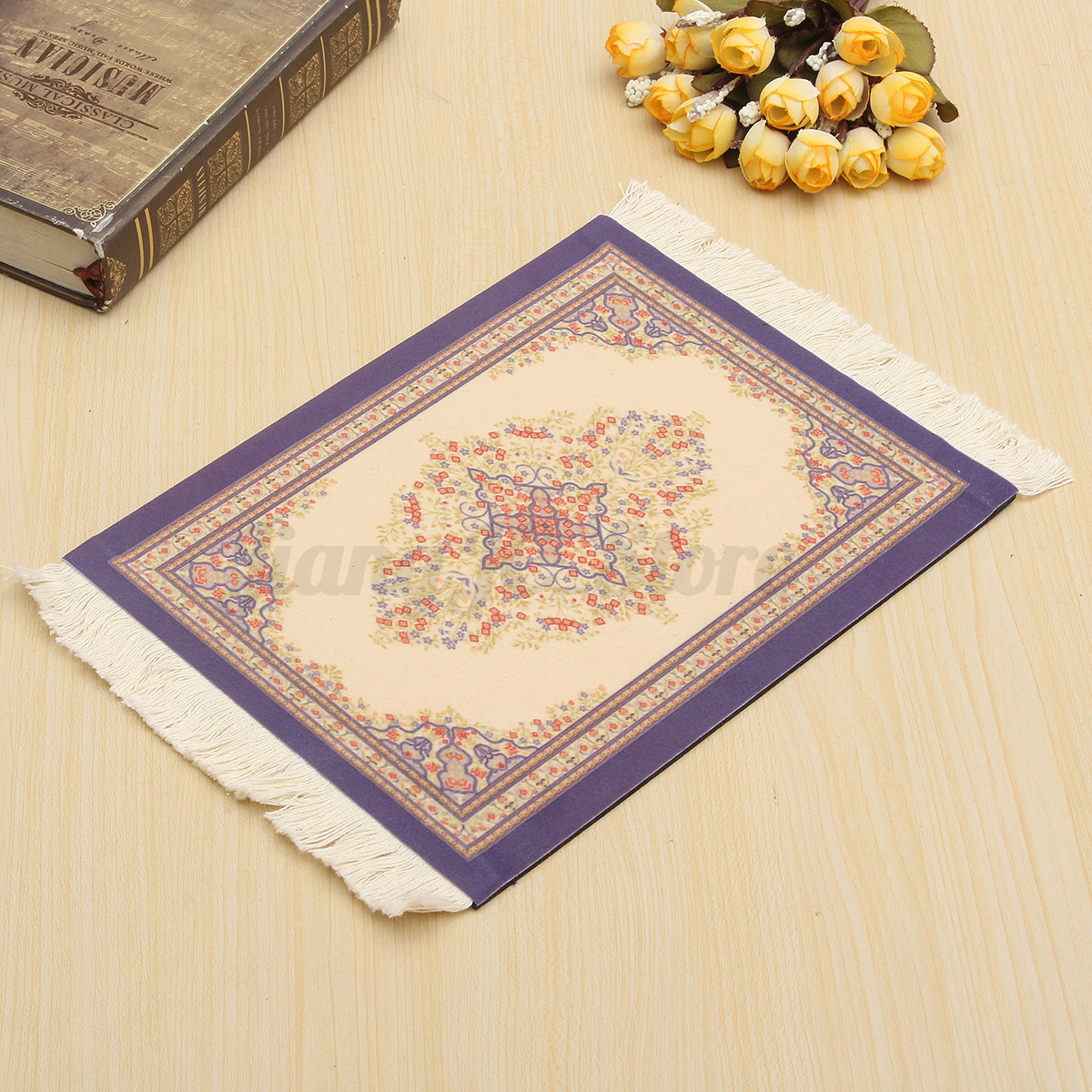 retro persian mouse pad mousemat blue red dot flower rug