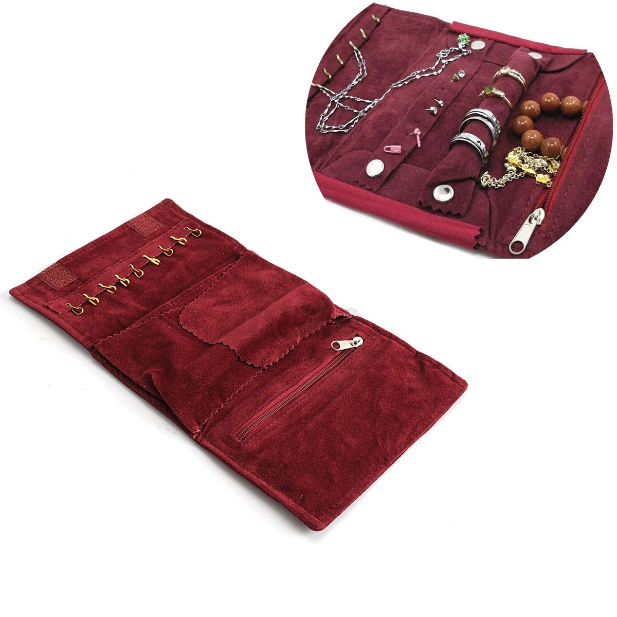 Velvet Travel Jewelry Case Roll Bag Organizer Necklace