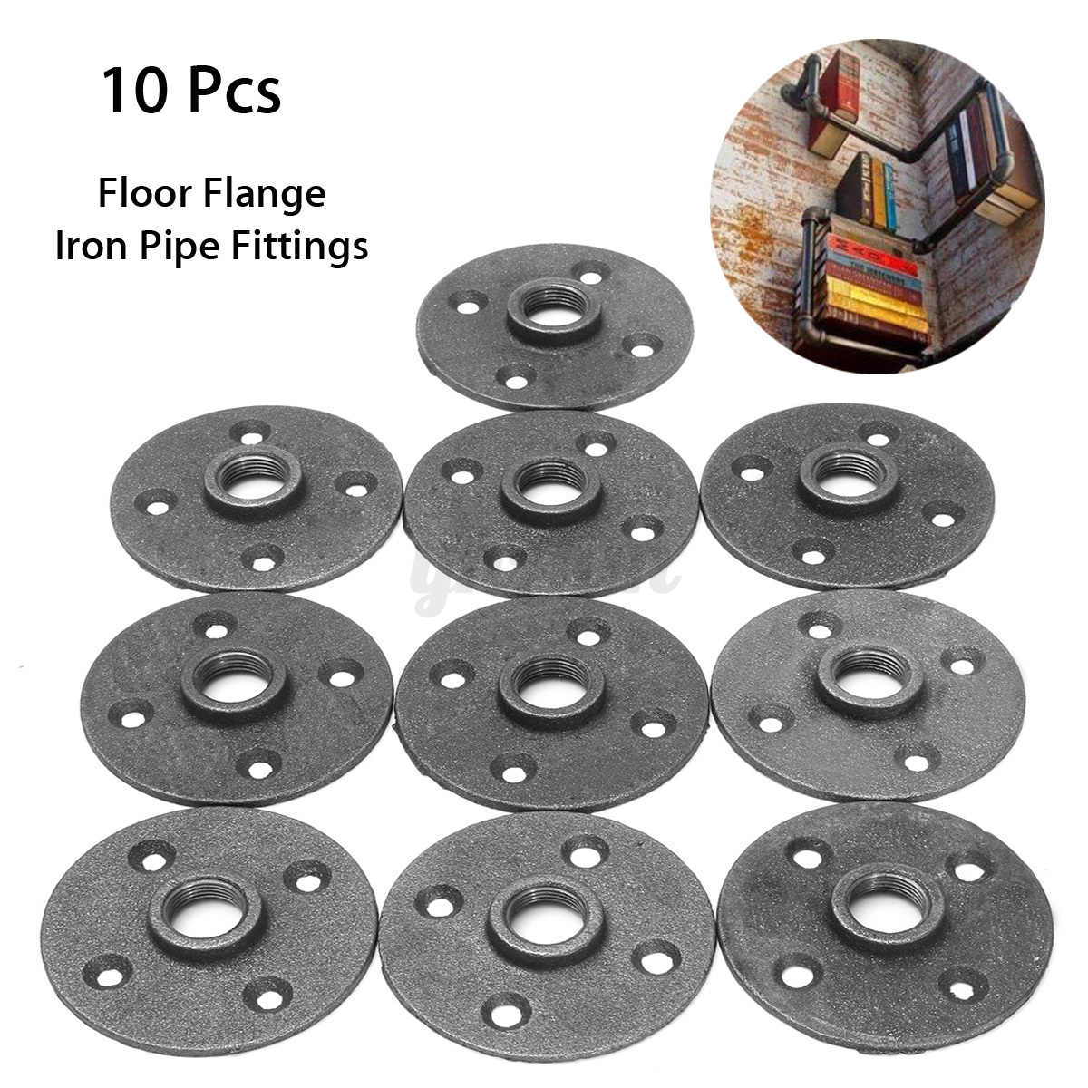 10pcs 1 2 39 39 black malleable threaded floor flange iron for 1 black floor flange