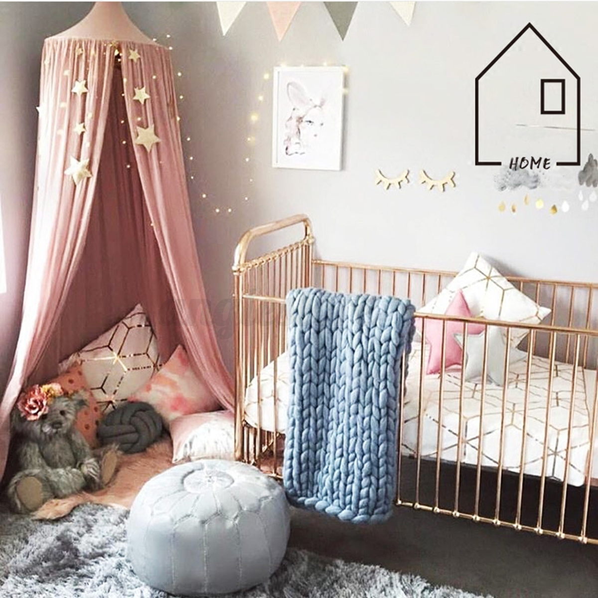 Baby/Kids Bed Canopy Netting Bedcover Mosquito Net Curtain Bedding Round Dome-US & Baby/Kids Bed Canopy Netting Bedcover Mosquito Net Curtain Bedding ...