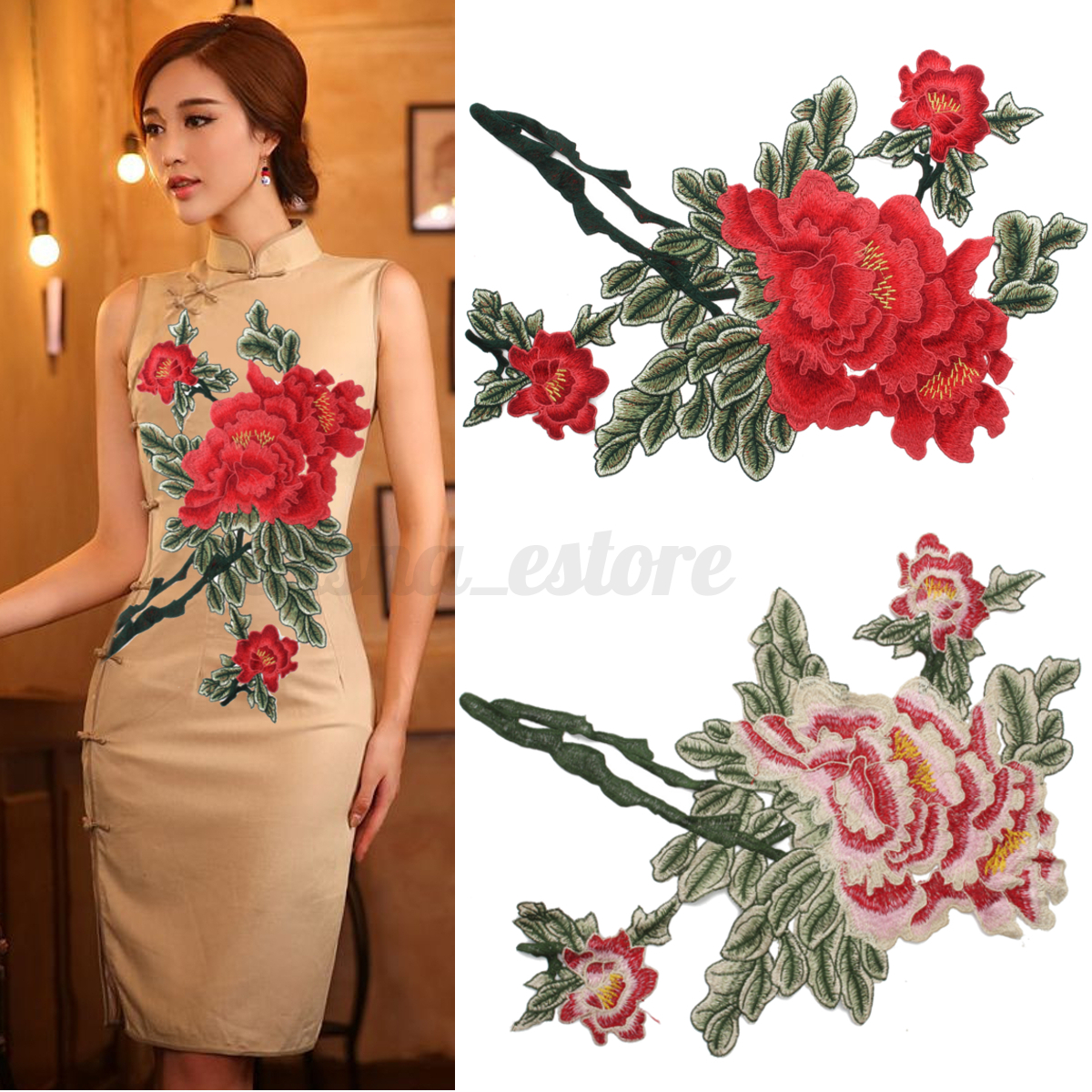 Flower Lace Motif Collar Sew on Patch Applique Badge Embroidered Bust Dress USA
