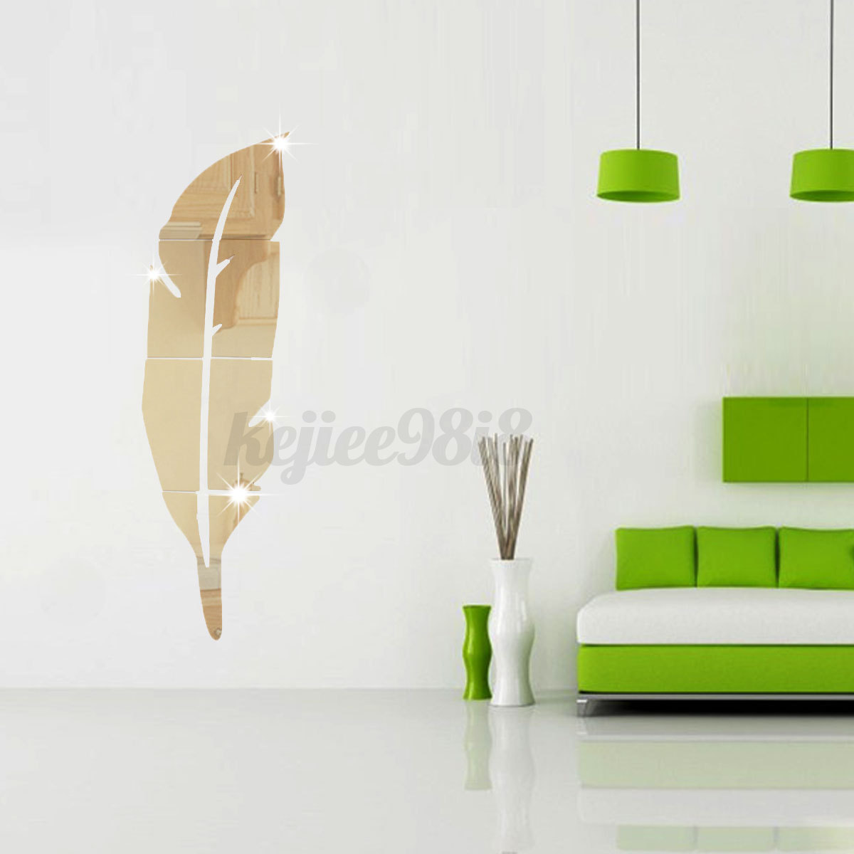 3d modern acryl feder spiegel aufkleber wandtattoo for Spiegel aufkleber