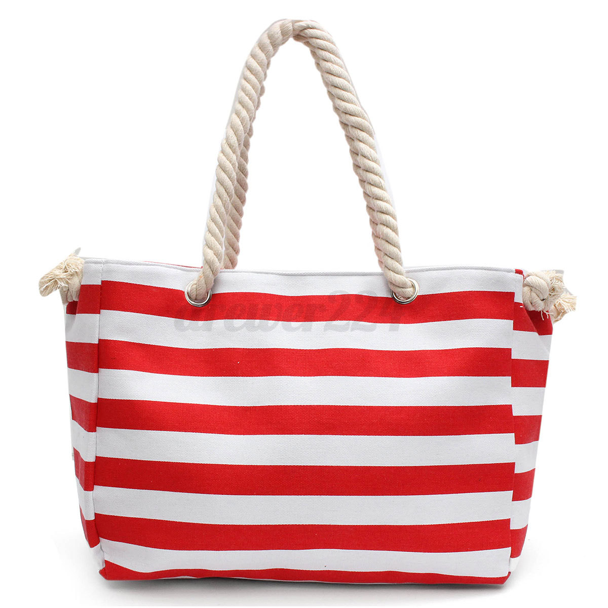 Rope Handle Beach Bag Canvas Striped Holiday Handbag Shopper Tote Shopping Bag