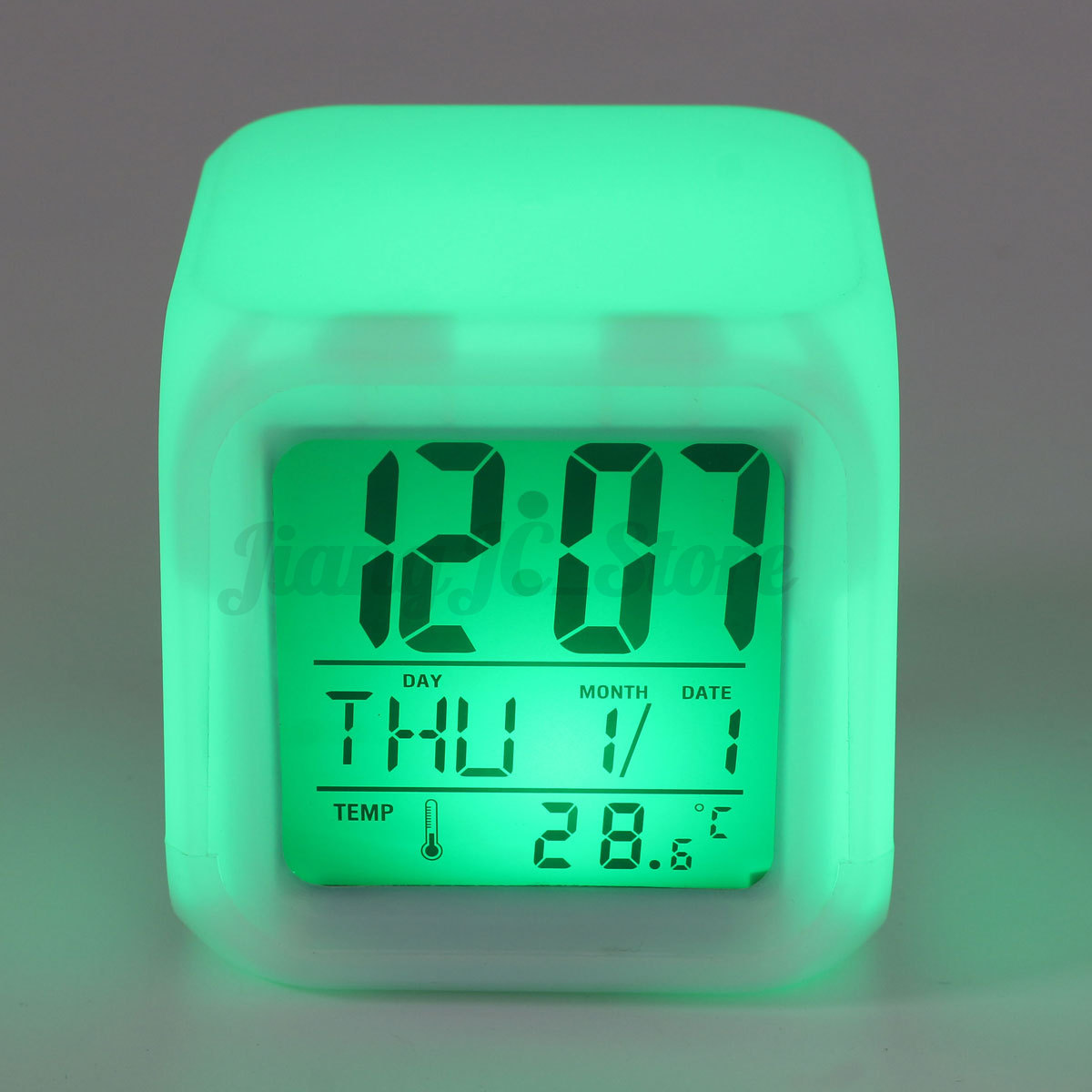 7 colors led glowing change digital calendar alarm. Black Bedroom Furniture Sets. Home Design Ideas